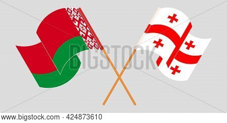 Crossed And Waving Flags Of Georgia And Belarus