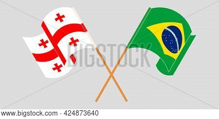 Crossed And Waving Flags Of Georgia And Brazil.