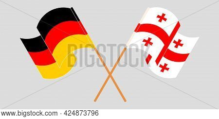 Crossed And Waving Flags Of Georgia And Germany