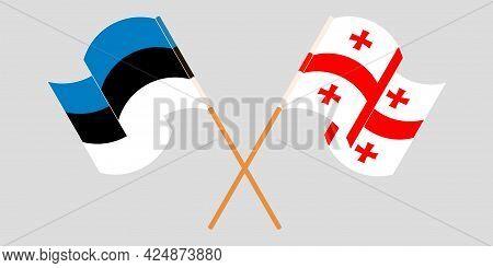 Crossed And Waving Flags Of Georgia And Estonia
