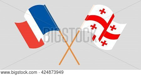 Crossed And Waving Flags Of Georgia And France
