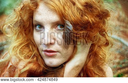 Lovely Freckled Portrait Of A Young Seductive Girl With In The Forest, Beautiful Sexy Attractive Red