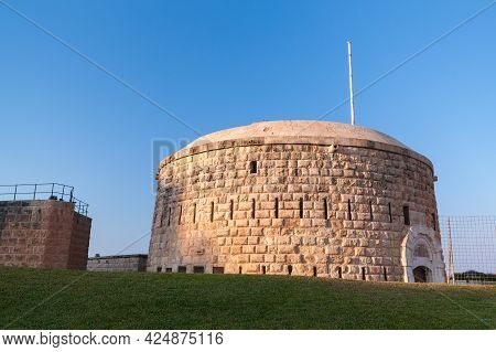 Round Tower Of The Fort Tigne. It Is A Polygonal Fort In Tigne Point, Sliema, Malta. It Was Built By