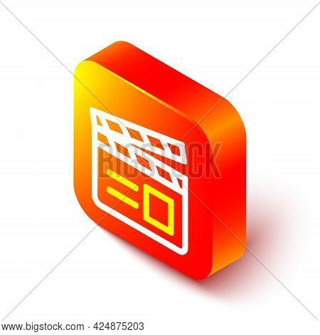 Isometric Line Movie Clapper Icon Isolated On White Background. Film Clapper Board. Clapperboard Sig