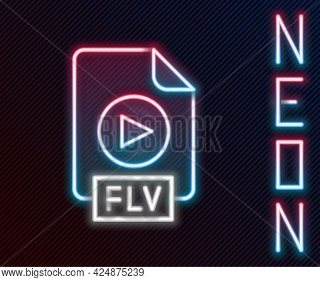 Glowing Neon Line Flv File Document Video File Format. Download Flv Button Icon Isolated On Black Ba
