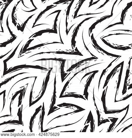 Vector Seamless Pattern Of Zigzags And Corners In Black Isolated On White Background.vector Seamless
