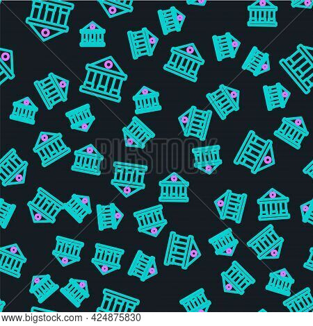Line Courthouse Building Icon Isolated Seamless Pattern On Black Background. Building Bank Or Museum