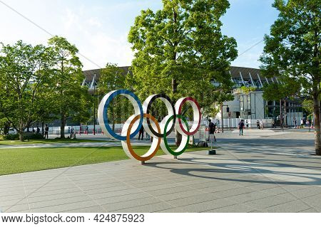 Shinjuku City, Tokyo, Japan - June 12, 2021: Olympic Rings In Front Of New National Stadium Also Cal