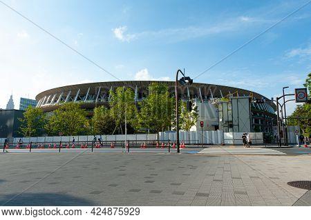 Shinjuku City, Tokyo, Japan - June 12, 2021: Tokyo Olympic Stadium - The Japan National Stadium Form