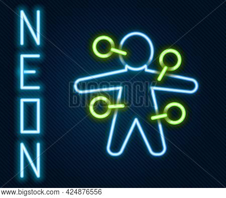 Glowing Neon Line Voodoo Doll Icon Isolated On Black Background. Colorful Outline Concept. Vector
