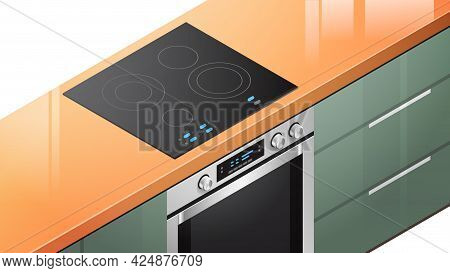 Kitchen Induction Stove Cooker With Oven In Isometric View Equipment For Cooking Food Home Appliance