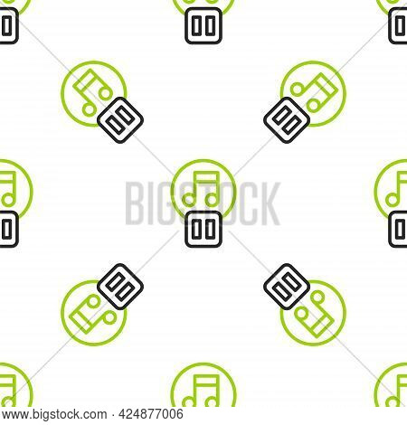 Line Pause Button Icon Isolated Seamless Pattern On White Background. Vector