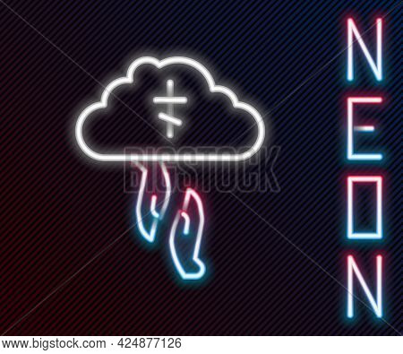 Glowing Neon Line Gods Helping Hand Icon Isolated On Black Background. Religion, Bible, Christianity