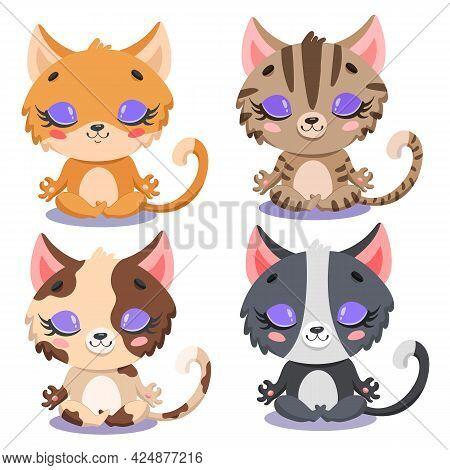 Flat Vector Illustration Of Cute Cartoon Cats Meditation. Yoga Cats. Farm Animals Meditate.