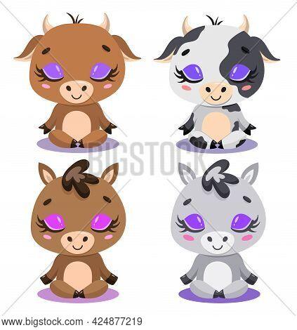 Flat Vector Illustration Of Cute Cartoon Cow, Bull, Horse And Donkey Meditation. Farm Animals Yoga.