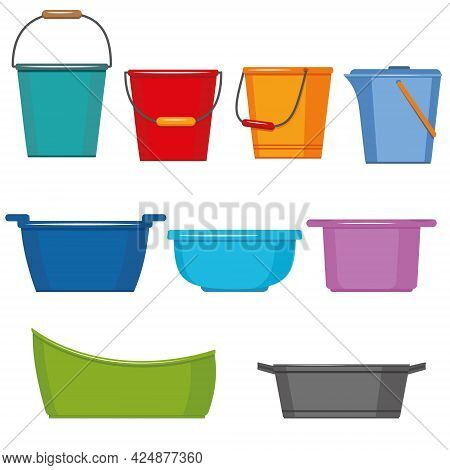 Set Of Insulated Containers For Washing And Cleaning Made Of Plastic, Basins Bucket Bath, Vector Ill