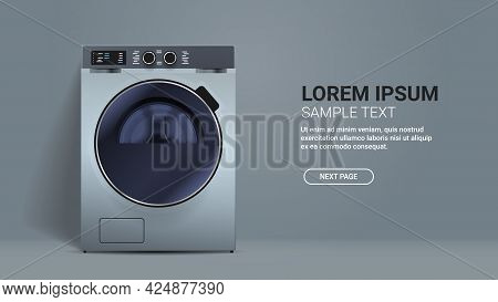 Realistic Washing Machine Front View Of Steel Washer Domestic Appliance Concept Horizontal