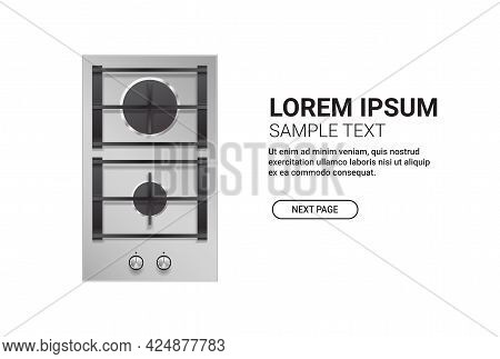 Kitchen Steel Two Burner Gas Hob Top View Of Stove Domestic Equipment Home Appliance Concept