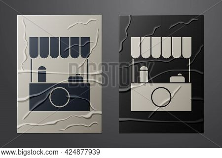 White Street Stall With Awning And Wooden Rack Icon Isolated On Crumpled Paper Background. Kiosk Wit