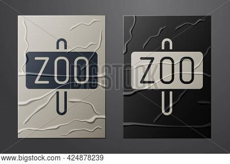 White Zoo Park Icon Isolated On Crumpled Paper Background. Paper Art Style. Vector