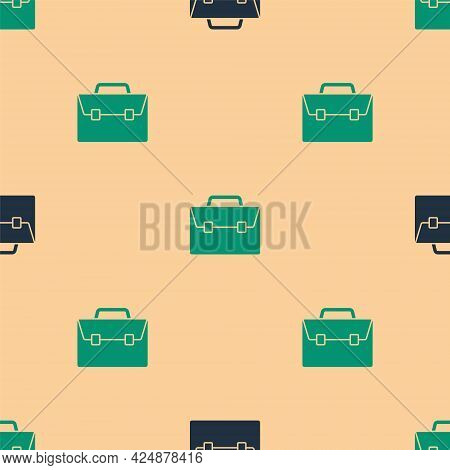 Green And Black Briefcase Icon Isolated Seamless Pattern On Beige Background. Business Case Sign. Bu