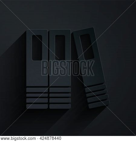 Paper Cut Office Folders With Papers And Documents Icon Isolated On Black Background. Office Binders