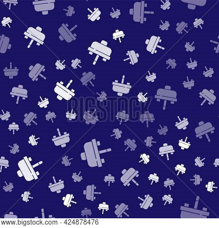 White Washbasin With Water Tap Icon Isolated Seamless Pattern On Blue Background. Vector