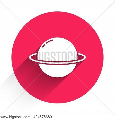 White Planet Saturn With Planetary Ring System Icon Isolated With Long Shadow. Red Circle Button. Ve