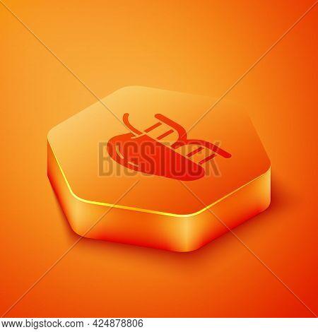 Isometric Genetically Modified Apple Icon Isolated On Orange Background. Gmo Fruit. Orange Hexagon B