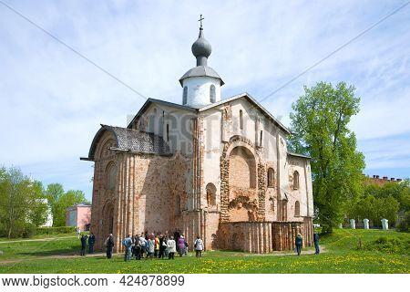 Veliky Novgorod, Russia - May 27, 2017: Excursion Near The Medieval Church Of Paraskeva-friday