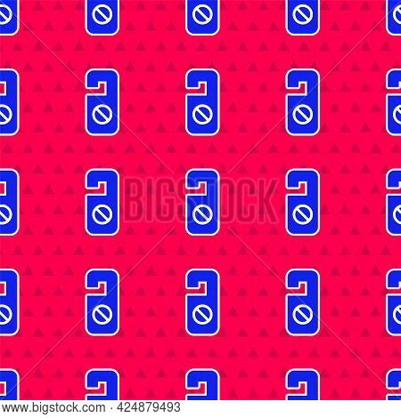 Blue Please Do Not Disturb Icon Isolated Seamless Pattern On Red Background. Hotel Door Hanger Tags.