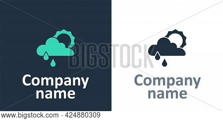Logotype Cloud With Rain And Sun Icon Isolated On White Background. Rain Cloud Precipitation With Ra