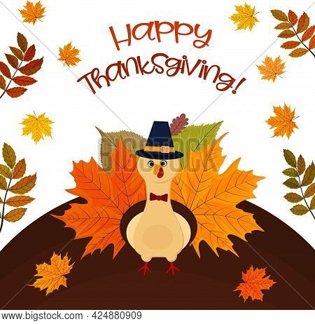Thanksgiving Day. Postcard With Frame Of Turkey And Autumn Leaves.