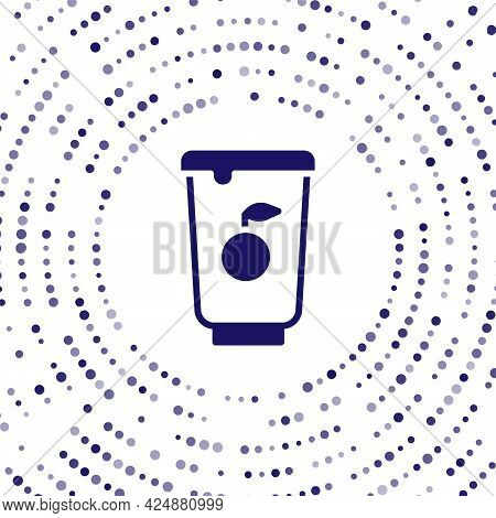 Blue Yogurt Container Icon Isolated On White Background. Yogurt In Plastic Cup. Abstract Circle Rand