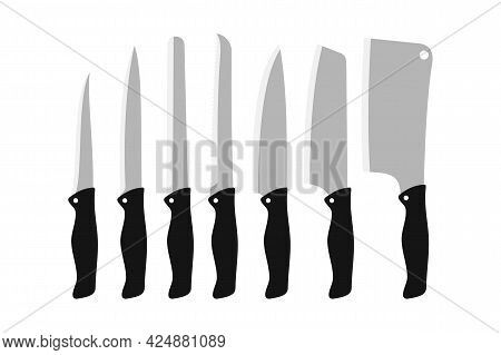 Set Of Vector Knife Isolated On White. Knife Types Symbol For Logo, Web, App, Ui. Knife Icon Simple