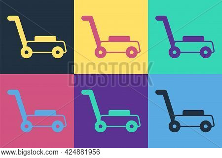 Pop Art Lawn Mower Icon Isolated On Color Background. Lawn Mower Cutting Grass. Vector