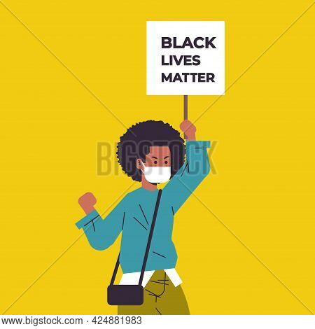 African American Woman In Mask Holding Black Lives Matter Banner Campaign Against Racial Discriminat