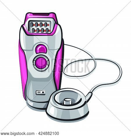 Illustration Of The Electric Wired Epilator On The White Background