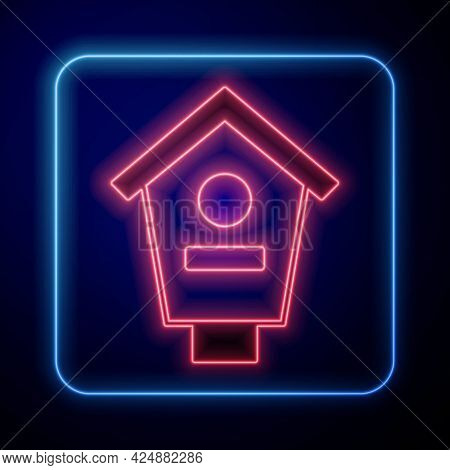 Glowing Neon Bird House Icon Isolated On Black Background. Nesting Box Birdhouse, Homemade Building