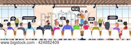 Businesswoman Presenting Stock Market Chart Businesspeople Analyzing Business News