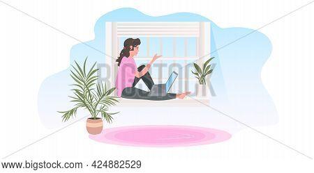 Woman Sitting On Windowsill Using Laptop Freelance Concept Moodern Living Room Interior