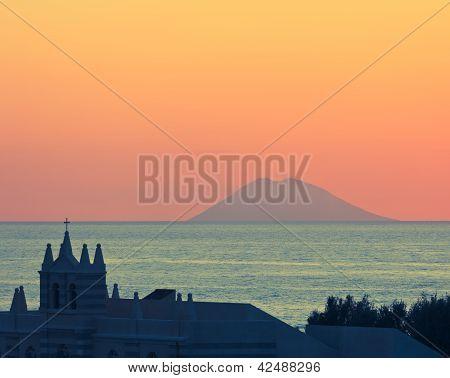 Amazing Sunset Over Stromboli