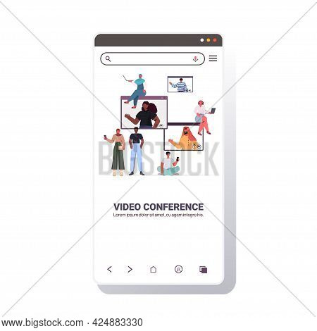 Mix Race People Chatting During Video Call With Friends In Web Browser Windows Online Conference