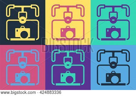 Pop Art Gimbal Stabilizer With Dslr Camera Icon Isolated On Color Background. Vector