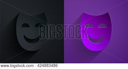 Paper Cut Comedy Theatrical Mask Icon Isolated On Black On Purple Background. Paper Art Style. Vecto