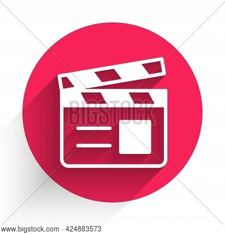 White Movie Clapper Icon Isolated With Long Shadow. Film Clapper Board. Clapperboard Sign. Cinema Pr