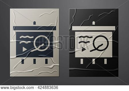 White Scenario On Chalkboard Icon Isolated On Crumpled Paper Background. Script Reading Concept For