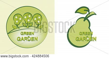 Pear. Green Garden. Can Be Used As Emblem, Label, Web Print, Sticker. Design For A Business Project.