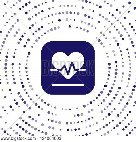 Blue Heart Rate Icon Isolated On White Background. Heartbeat Sign. Heart Pulse Icon. Cardiogram Icon