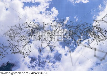 Communication Lines Network Against The Sky, Web Network Connections